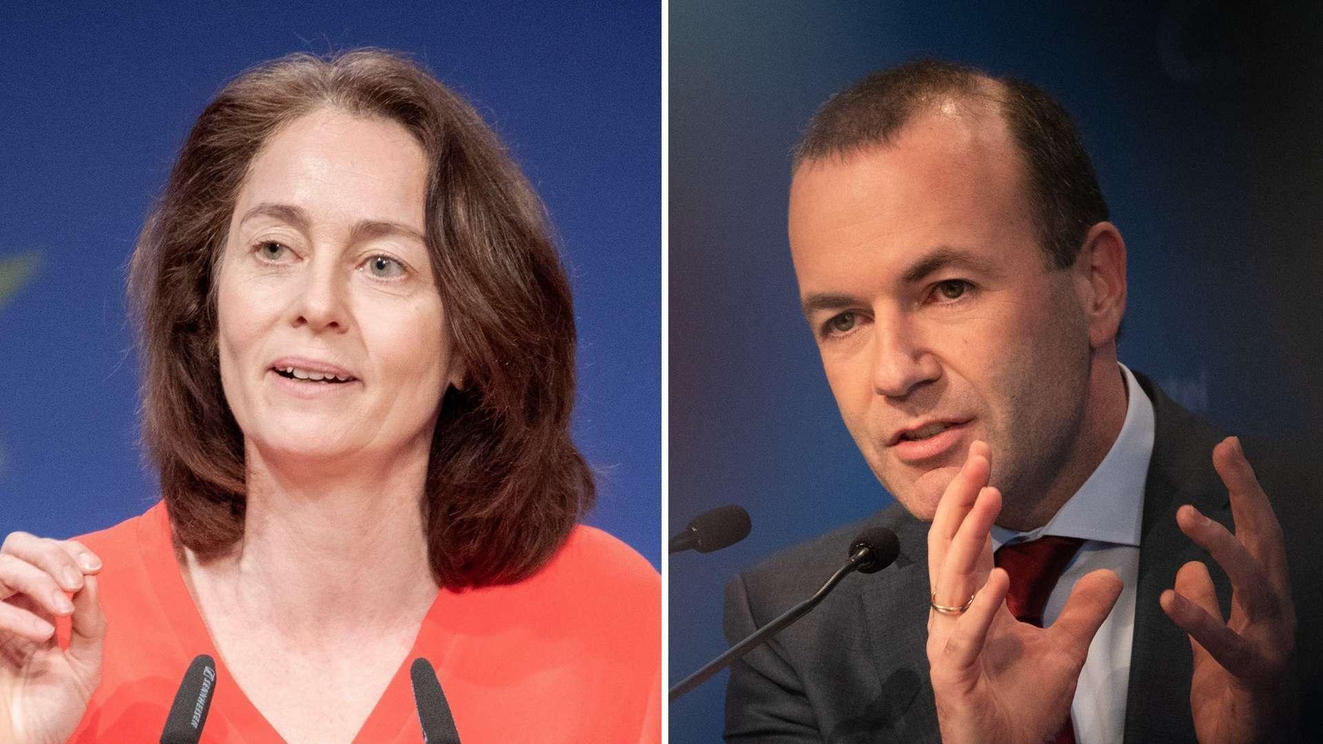 Katarina Barley (SPD) und Manfred Weber (CSU)