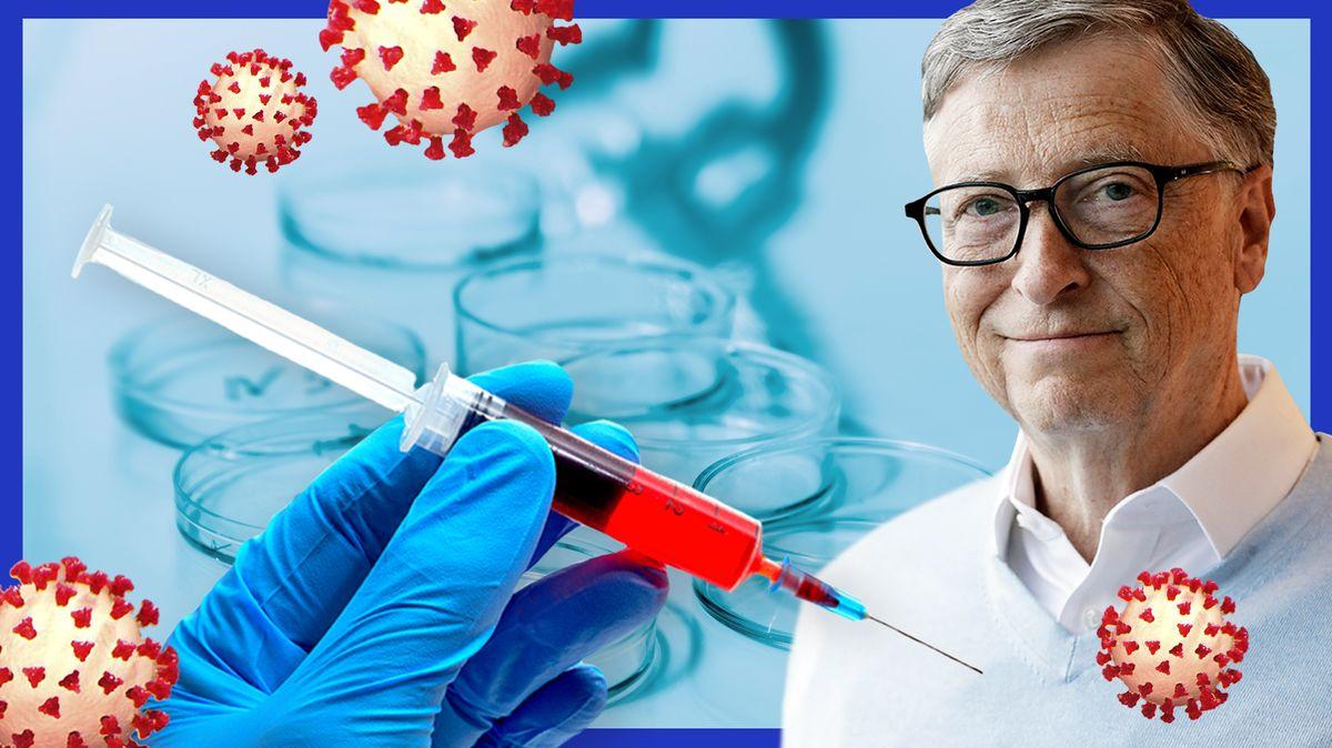 Ein Herr in Hemd und Pullover, mit Brille und graumelierten Haaren schaut in die Kamera: es ist der Unternehmer Bill Gates. Daneben ist eine Spritze zu sehen, die mit einer roten Flüssigkeit aufgezogen ist. Im Hintergrund unscharfe Petrischalen und grafische Darstellungen von Coronaviren.