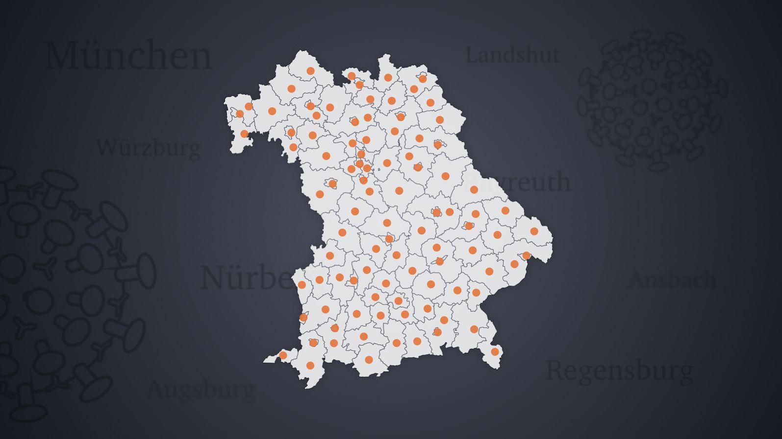 Landkarte Bayerns mit den Landkreisen