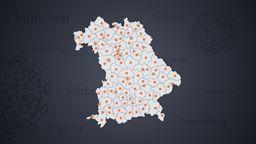 Landkarte Bayerns mit den Landkreisen | Bild:BR
