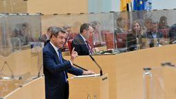 Bayerns Ministerpräsident Söder (CSU) bei seiner Regierungserklärung am 21.10.20 im Bayerischen Landtag | Bild:pa/dpa/Peter Kneffel