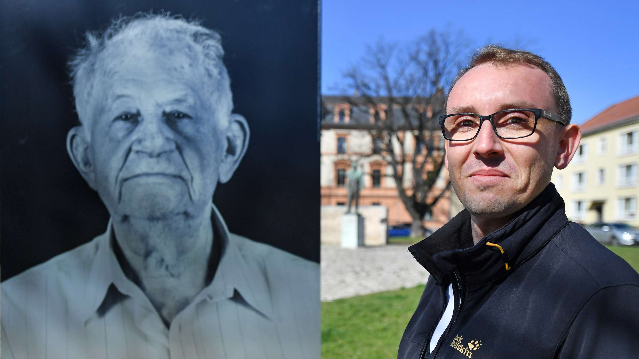 Fotograf Thomas Müller neben einem seiner Fotos.