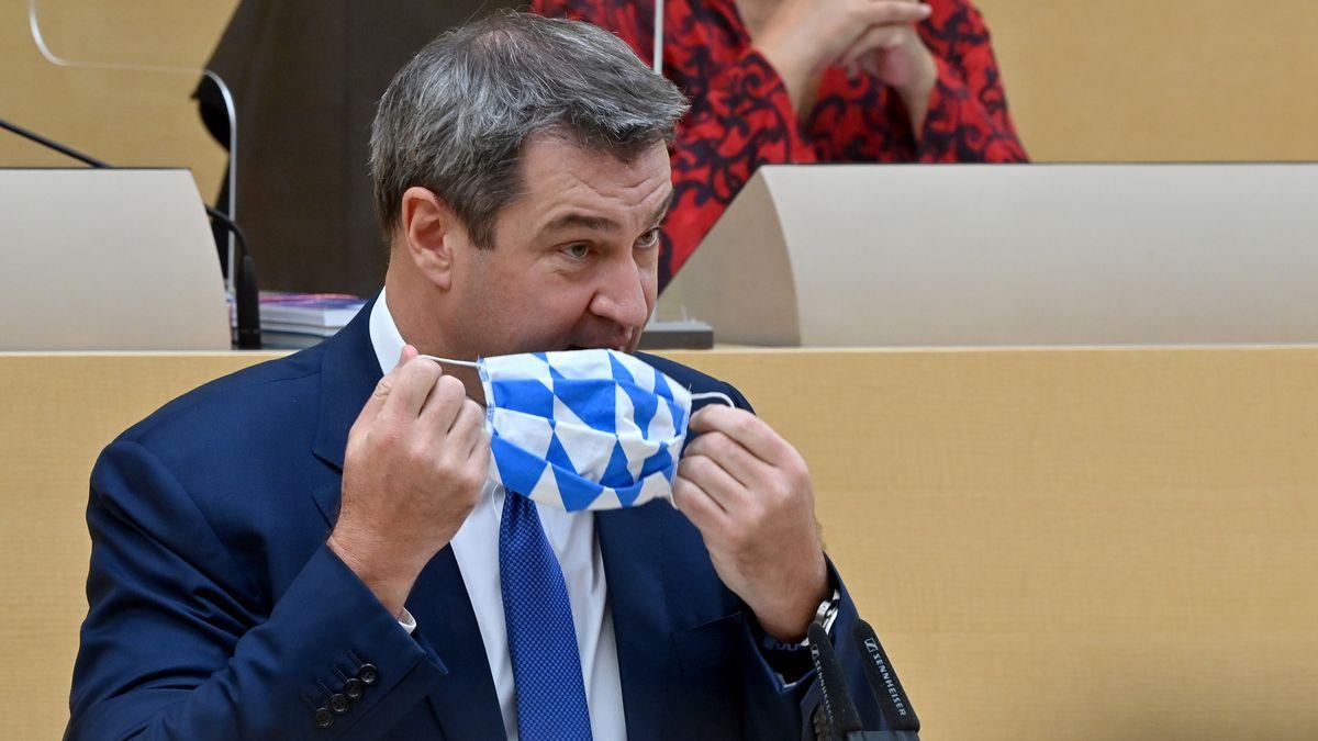 Bayerns Ministerpräsident Söder (CSU) unmittelbar vor seiner Regierungserklärung im Landtag am 21.10.20