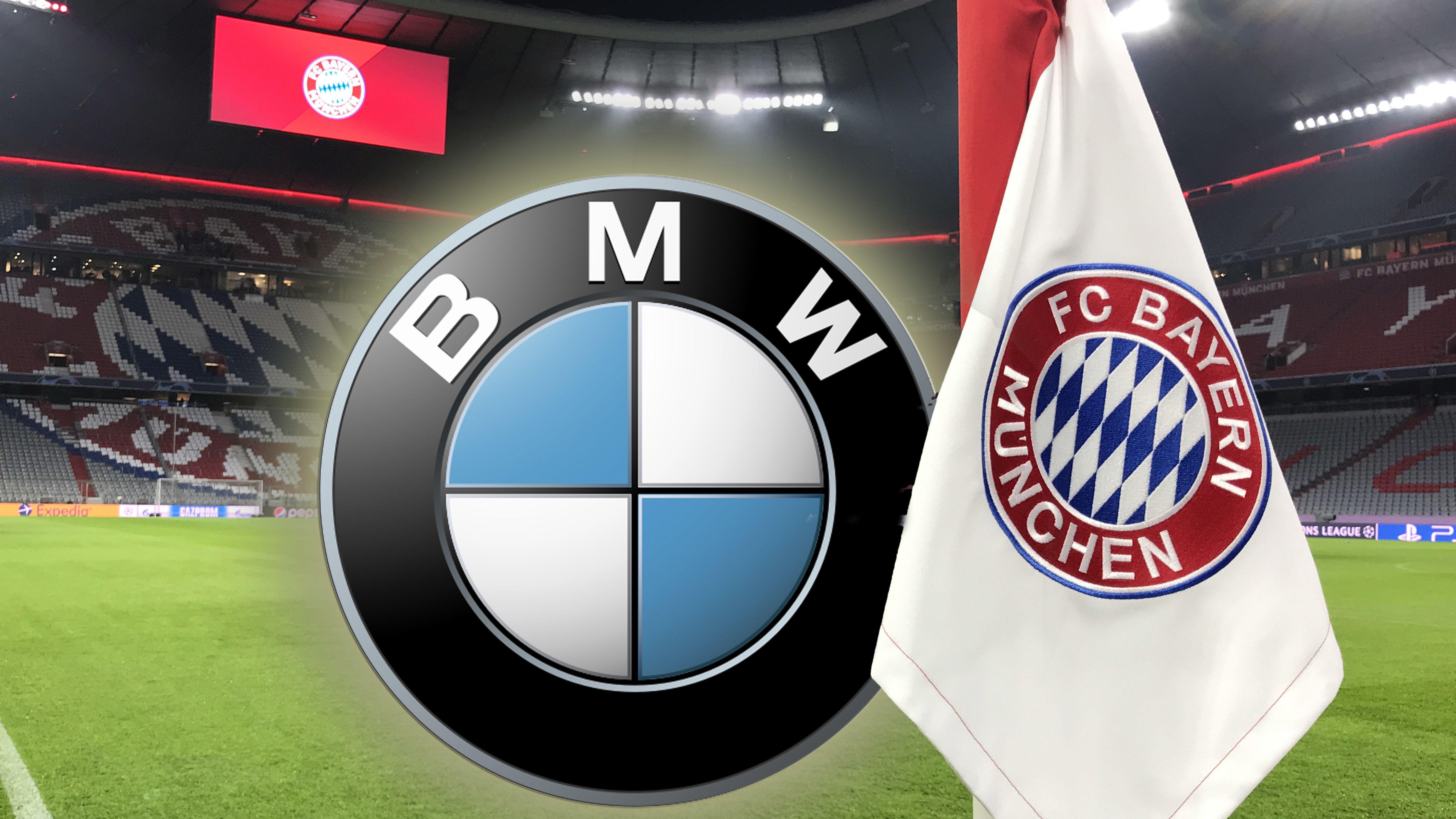 Per Foto-Montage eingefügtes BMW-Logo an einer Eckfahne mit FC-Bayern-Logo in der Allianz-Arena.