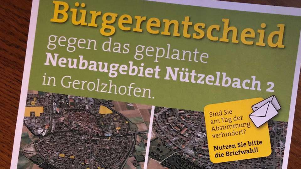Flyer zum Bürgerentscheid gegen ein geplantes Neubaugebiet in Gerolzhofen