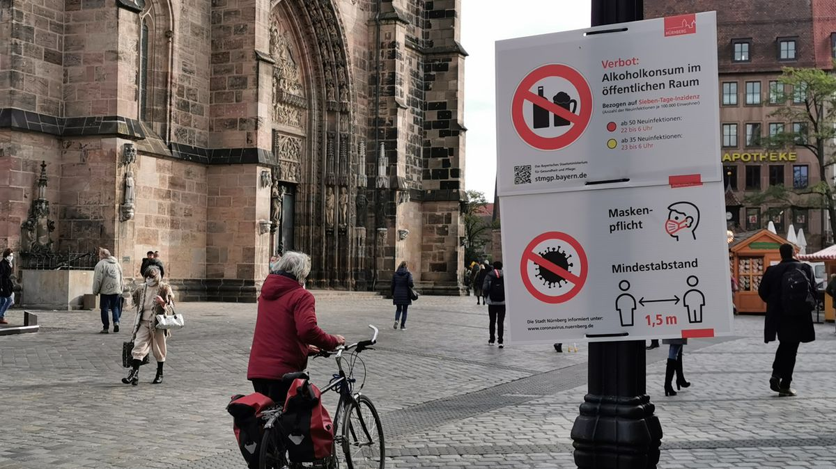 Corona-Warnschilder vor der Lorenzkirche