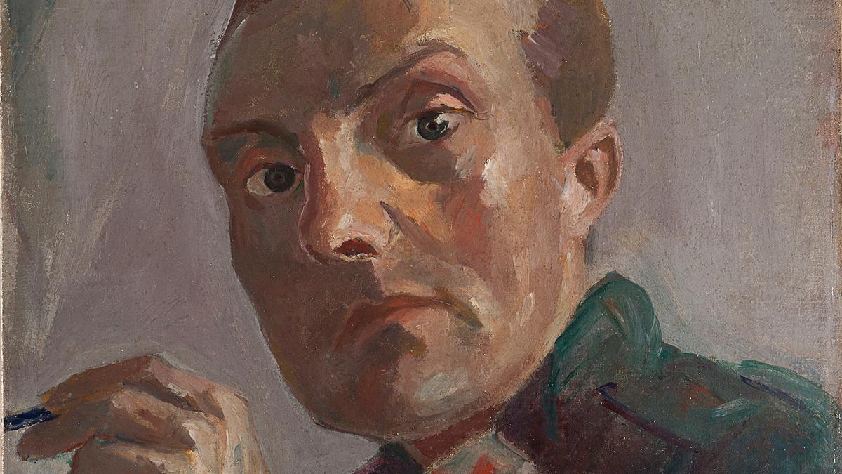 Gemälde von Max Beckmann, Selbstporträt, auf dem er mit weit geöffneten Augen auf den Betrachter blickt