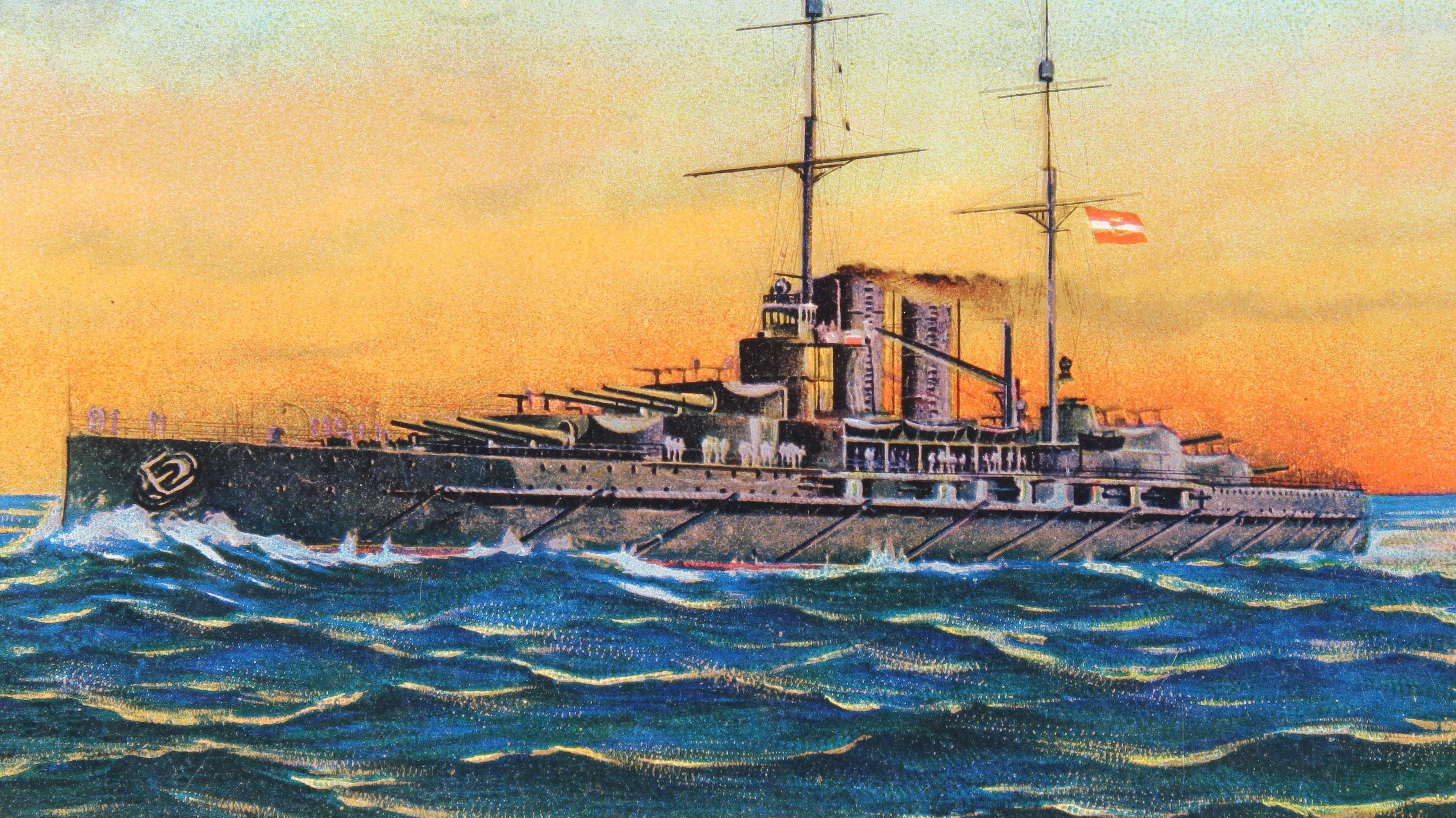 """Malerei des Kriegsschiffs der deutschen Marine """"Prinz Eugen"""" im Einsatz"""