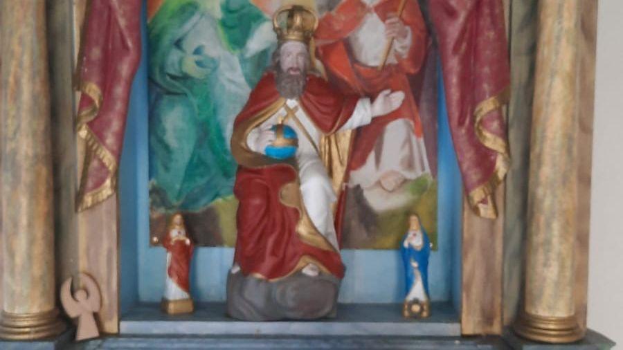 Die Jesusfigur in der Dreifaltigkeitskapelle von Oberehrenbach