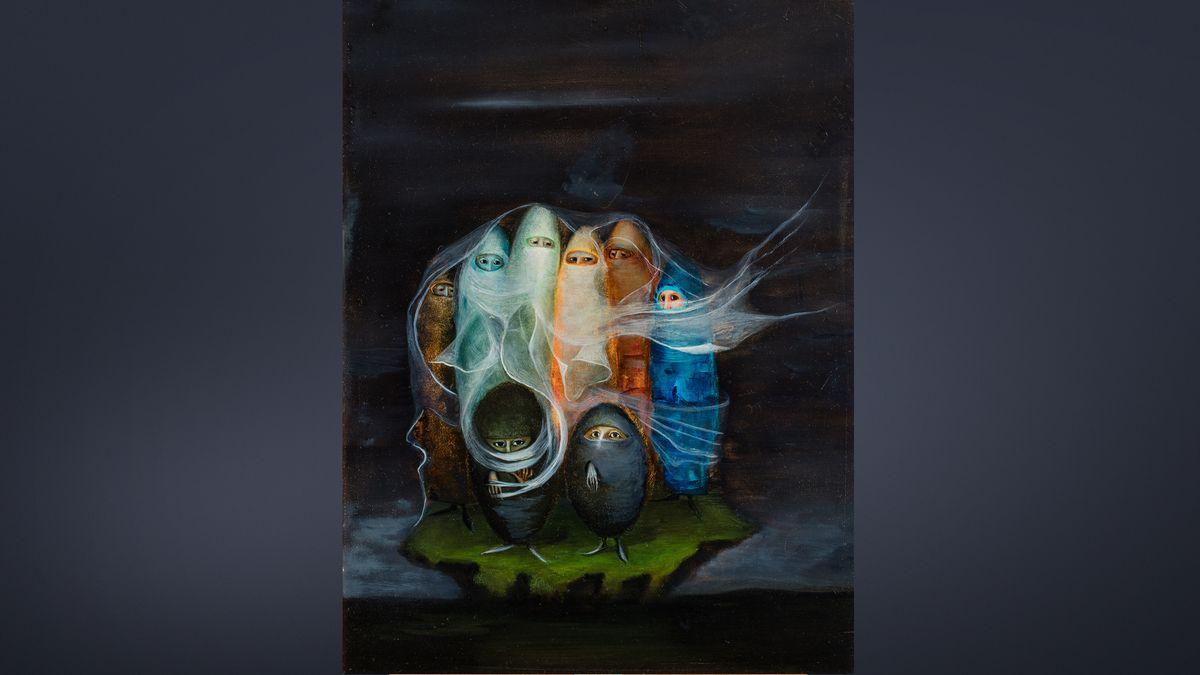 Bridget Tichenor, Die Surrealisten/Die Spezialisten, 1956, Oil on Mazonite, 40 x 30,2 cm, Privatsammlung Mexico,