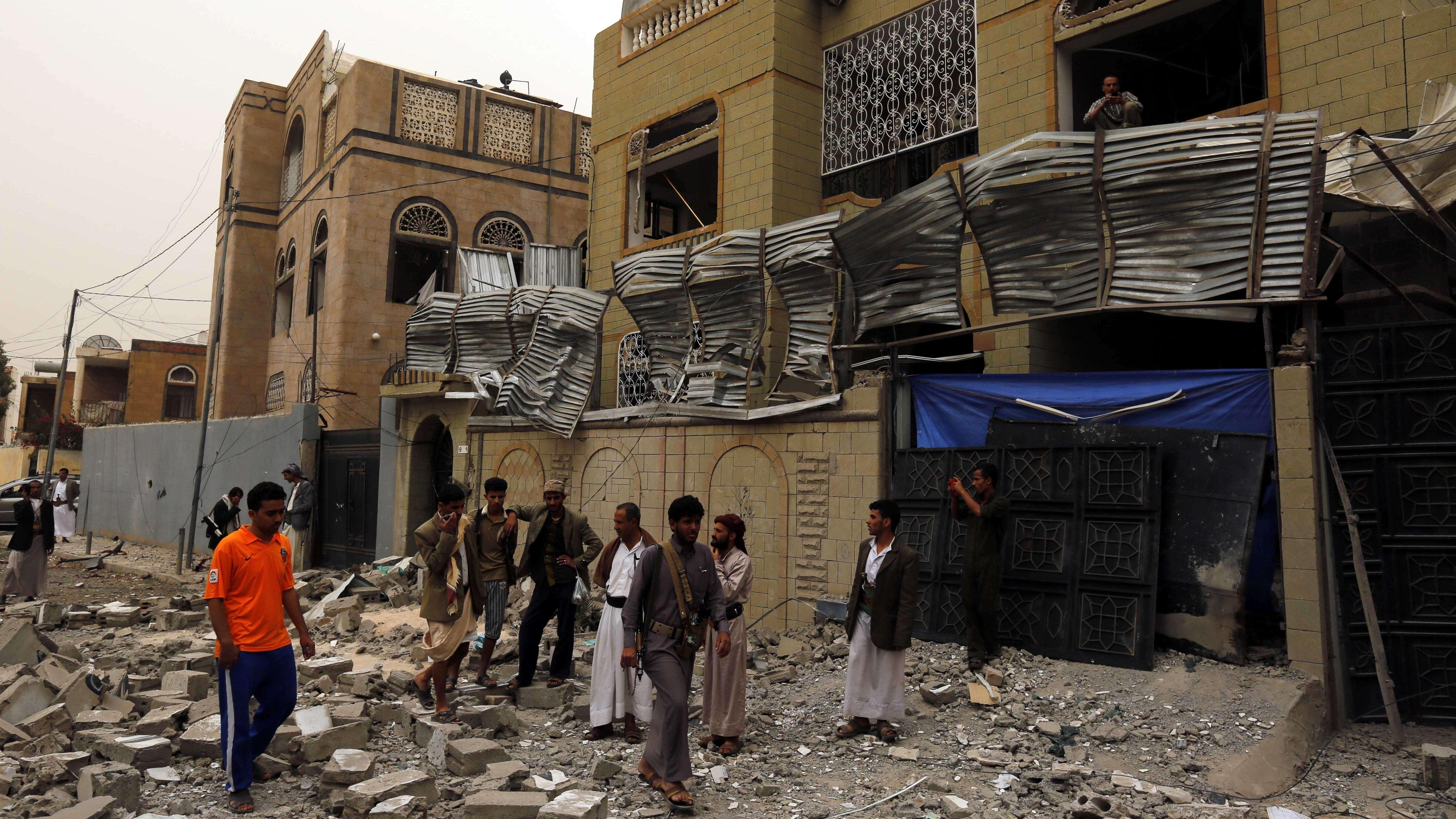 Ruinen im zerstörten Sanaa