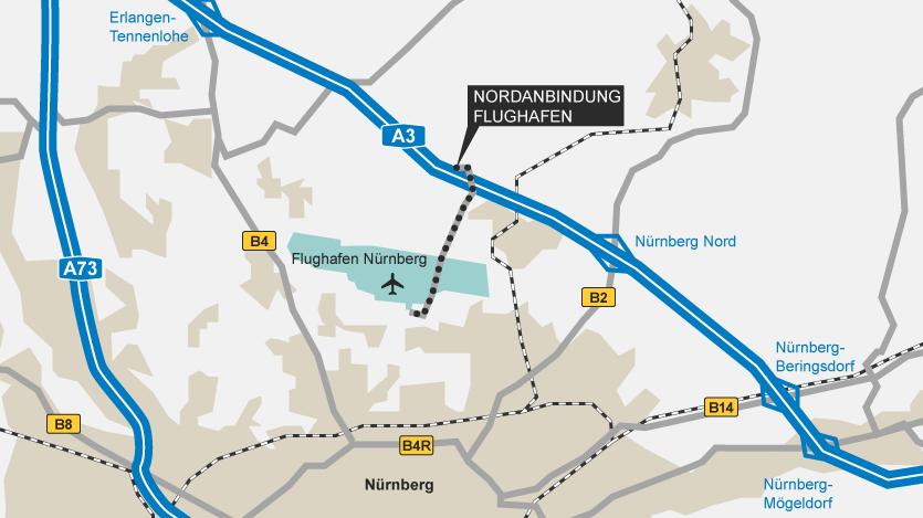 Karte mit der Trasse der geplanten Nordanbindung