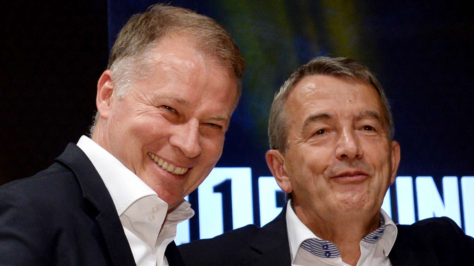Stefan Reuter und Wolfgang Niersbach bei einem Medientermin 2014
