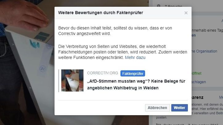 Screenshot aus Facebook