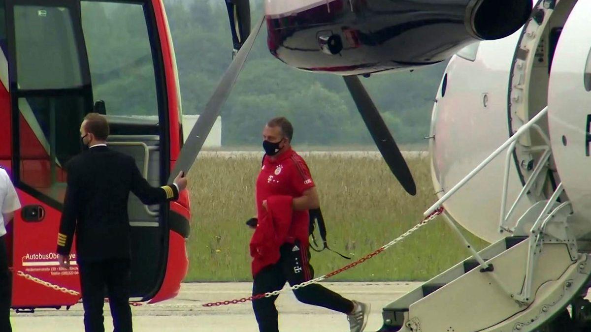 Ankunft FC Bayern München in Oberpfaffenhofen