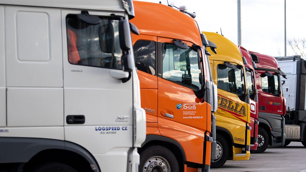 Mehrere Lastwagen stehen aufgereiht nebeneinander.