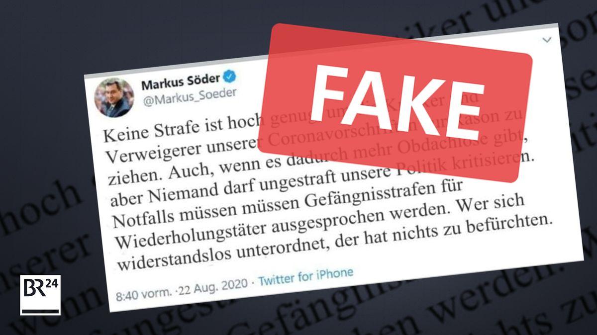 Dieser angebliche Tweet von Markus Söder verbreitet sich in sozialen Medien - doch er ist ein Fake.