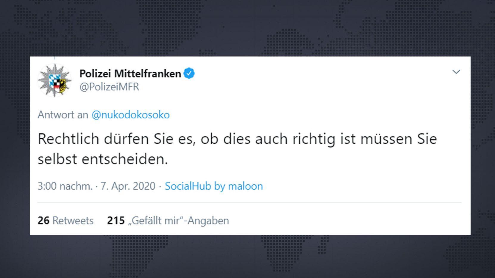 Tweet der Polizei Mittelfranken