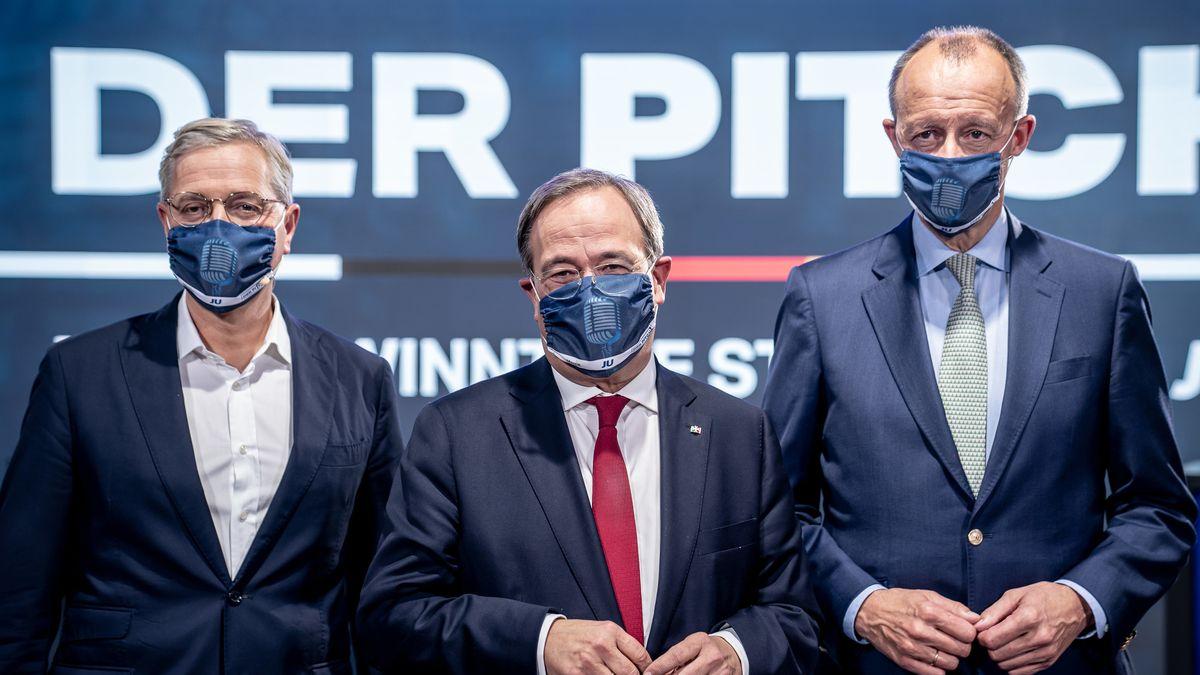 Archiv: Die drei Kandidaten für den Bundesvorsitz der CDU, Armin Laschet (M), Friedrich Merz (r) und Norbert Röttgen