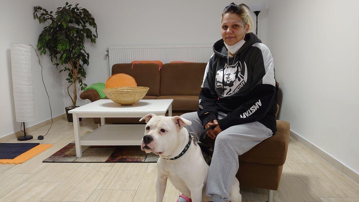 Eine Frau sitzt auf einem Hocker. Davor ihr weißer Hund.