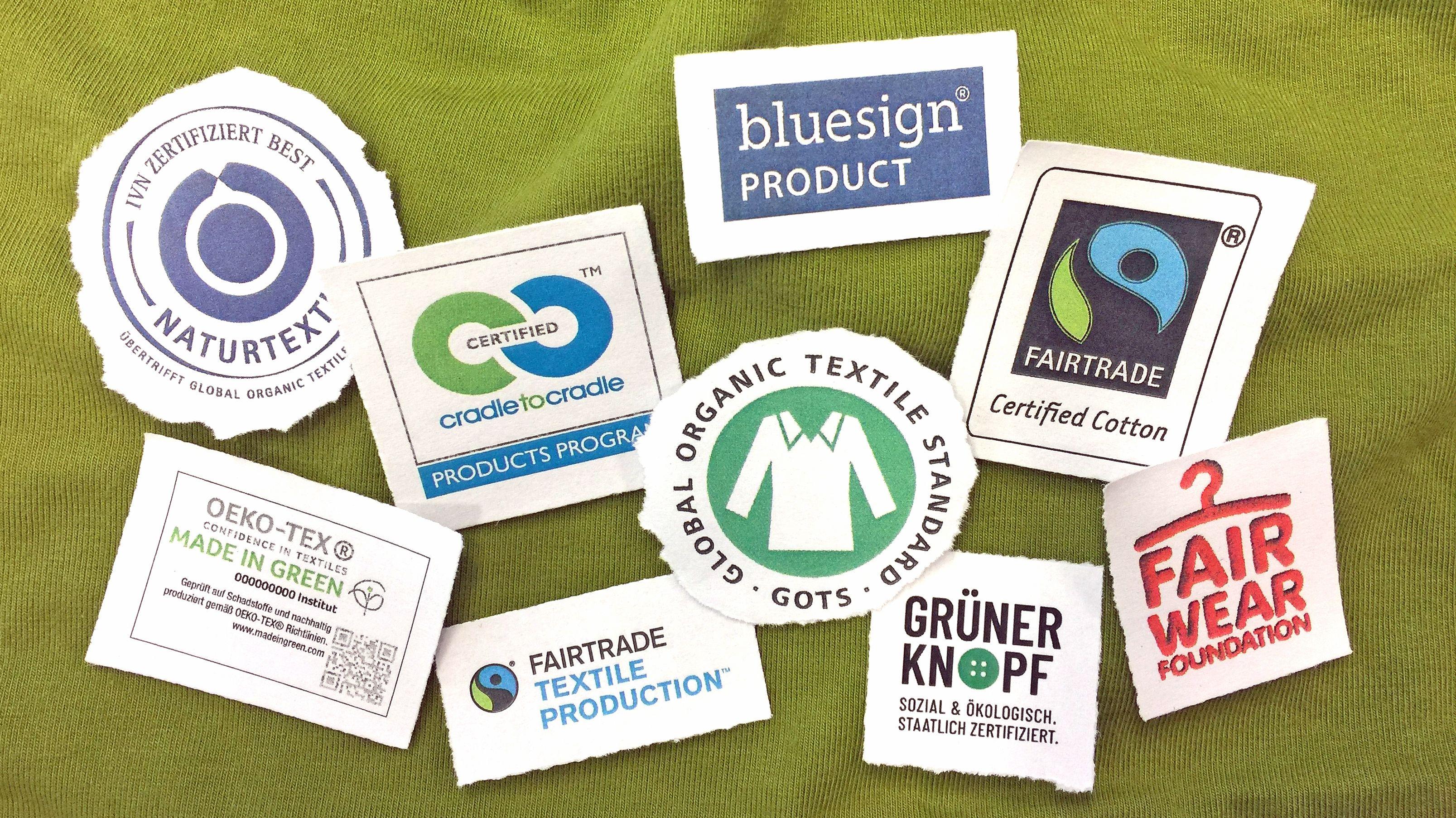 Eine Auswahl an Öko-Siegeln für die Modeindustrie.