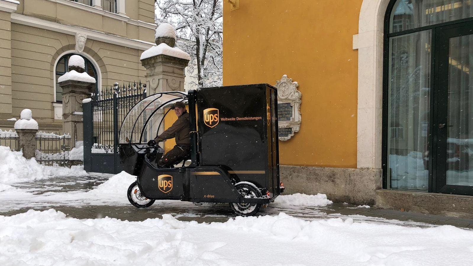 UPS Lastenrad auch bei Schnee einsetzbar