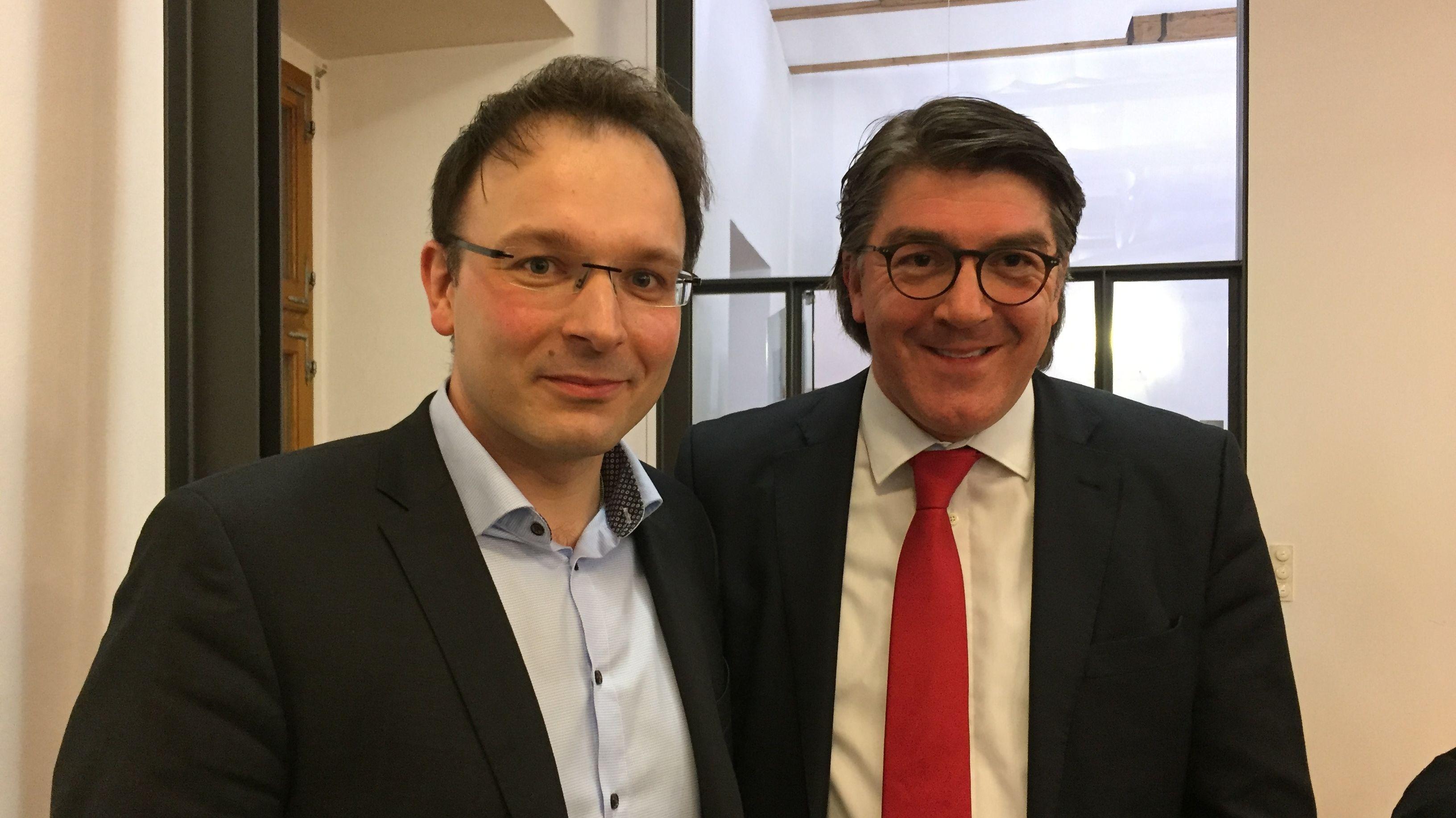 Stichwahl-Kandidaten in Cham: Martin Stoiber (CSU - links) und Christian Plötz (FW)