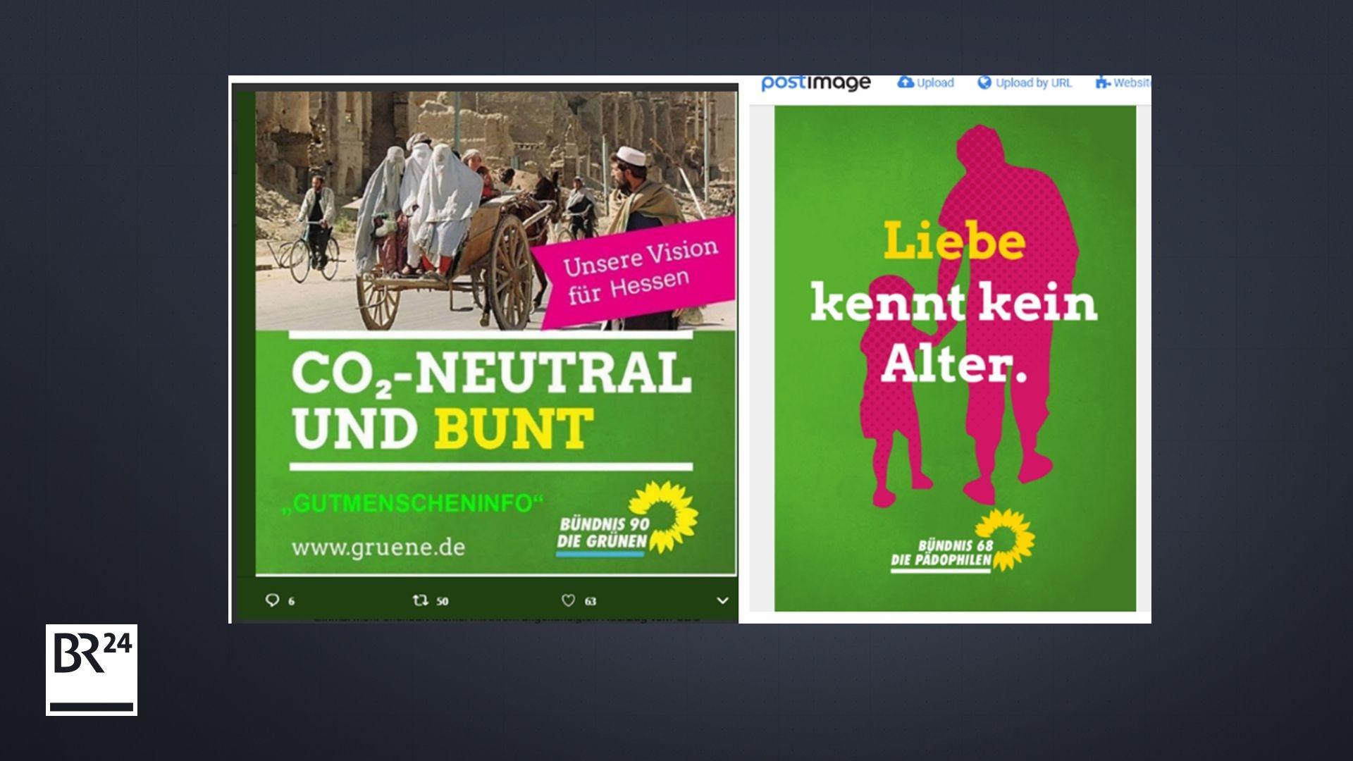 Zwei Beispiele für gefälschte Wahlplakate der Grünen