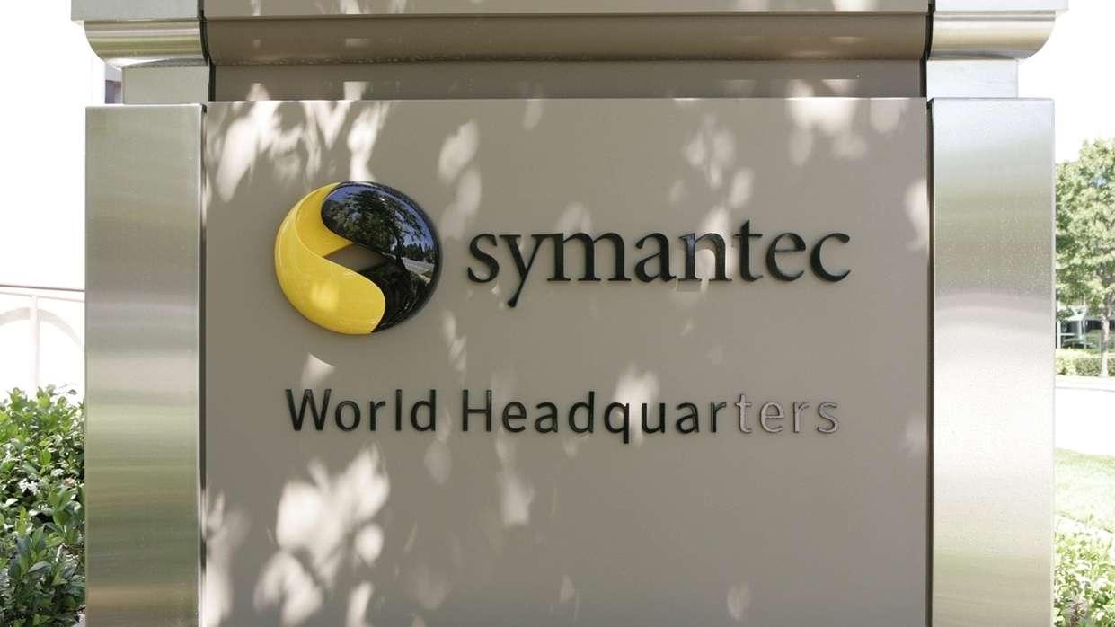 Das Firmenschild der Firma symantec -  Hersteller der Marke Norton