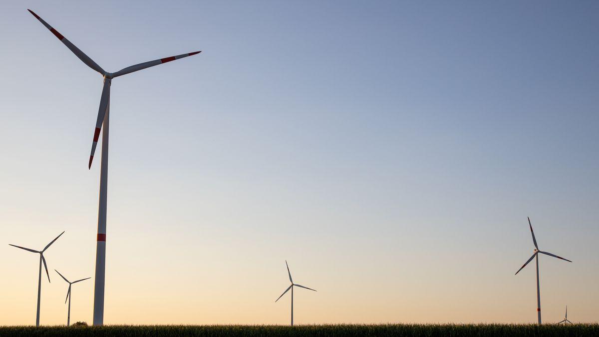 Windräder stehen in einer Landschaft.