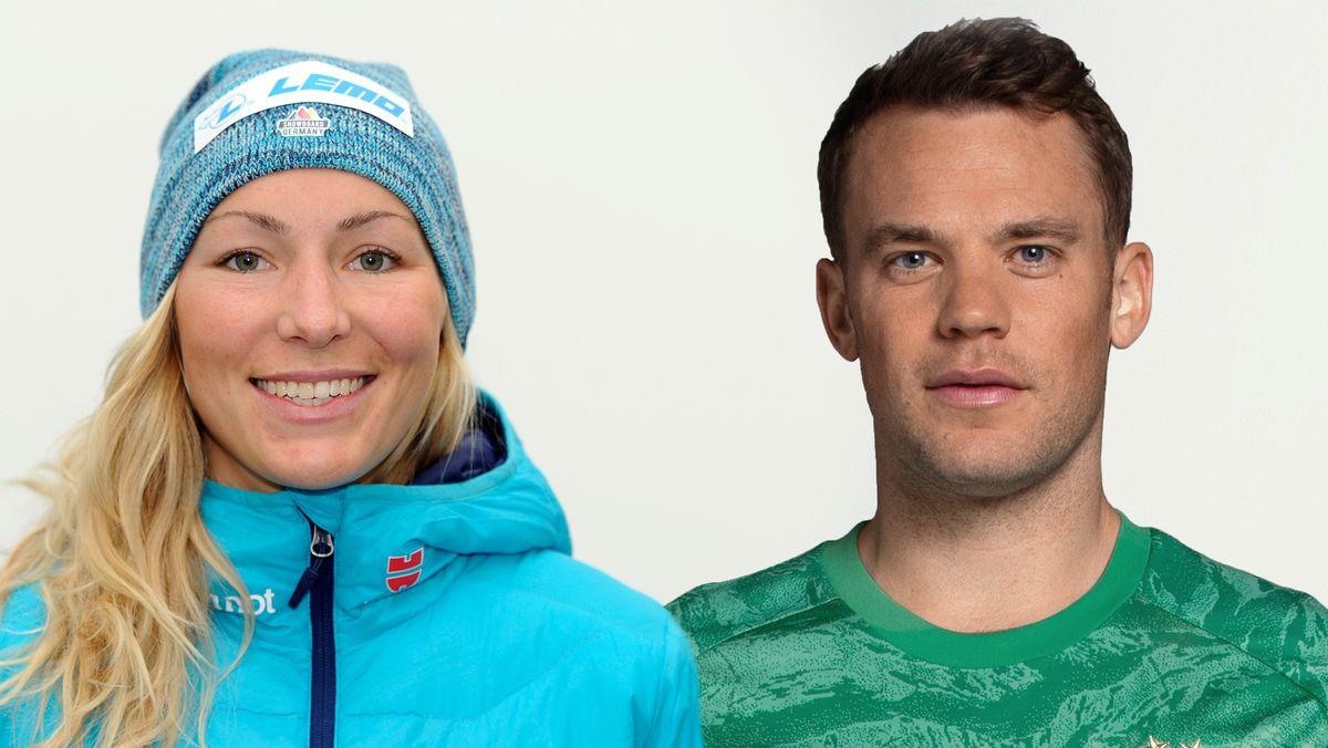 Weltmeisterin Selina Jörg und FCB-Torwart Manuel Neuer