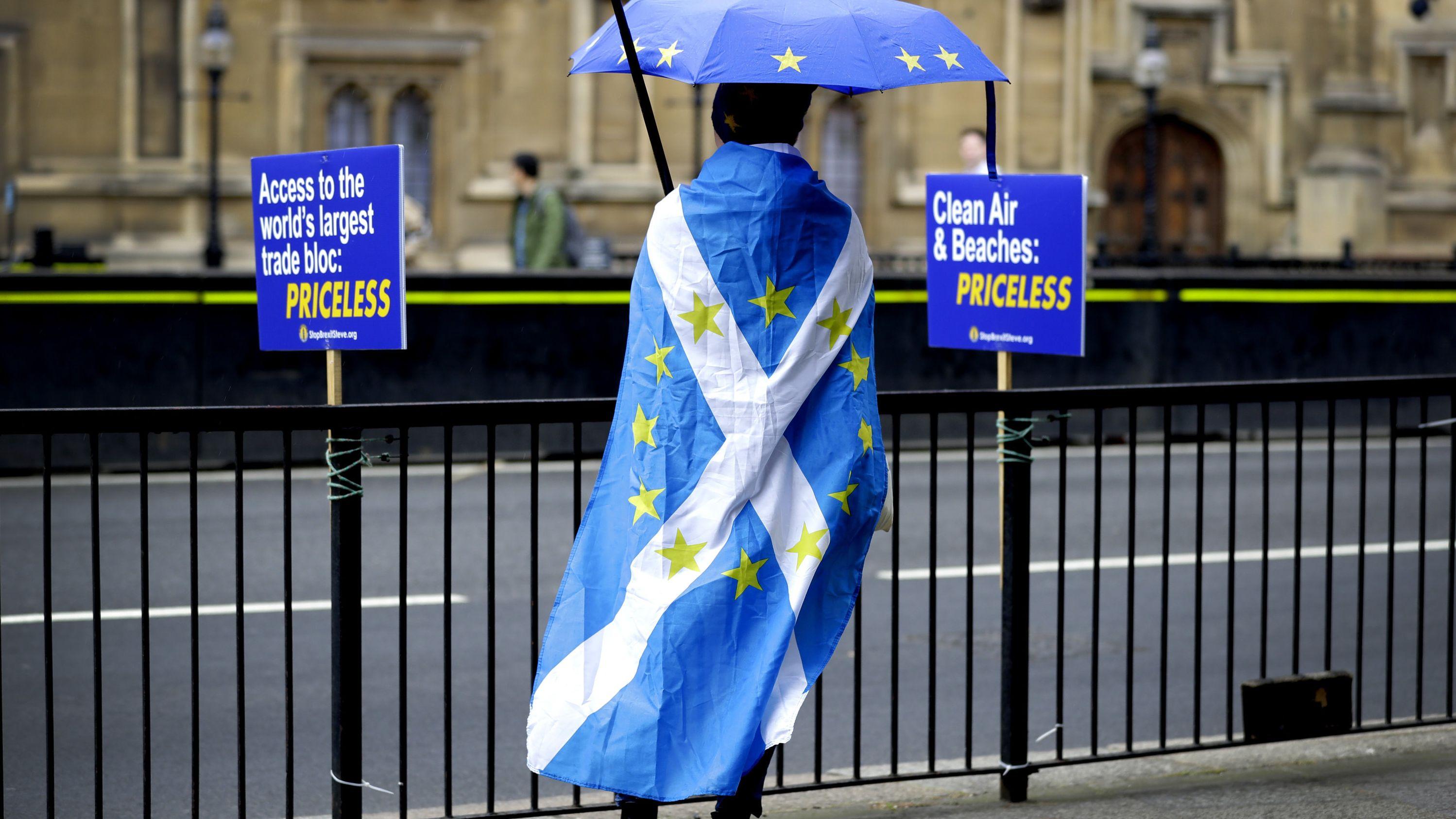 Ein Brexitgegner demonstriert gegenüber dem britischen Parlament mit einer schottischen Flagge als Umhang, auf die die Sterne der EU-Flagge gedruckt sind.