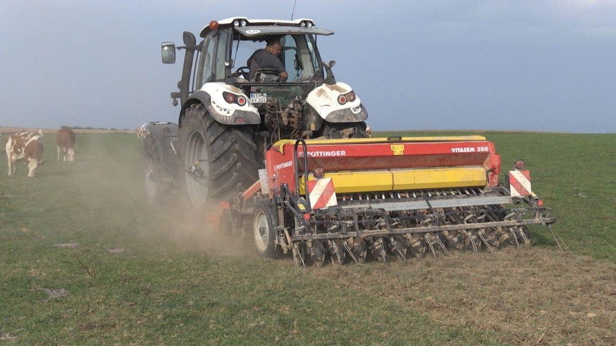Ein Landwirt aus Saal an der Donau pflügt das Weideland um, damit es seinen Wert nicht verliert