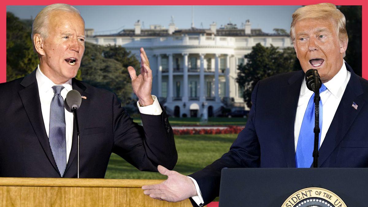 Zwei ältere, weiße Herren in Anzug stehen jeweils an einem Rednerpult. Der Herr links ist Joe Biden, rechts steht Donald Trump. Im Hintergrund ist ein weißes Haus zu sehen. Es ist DAS Weiße Haus.
