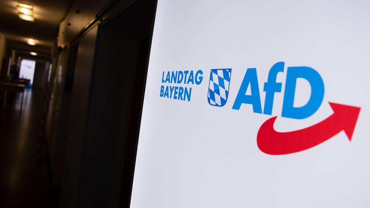 Das Logo der AfD-Fraktion in einem Flur des Bayerischen Landtags, aufgenommen am 15.06.2020.