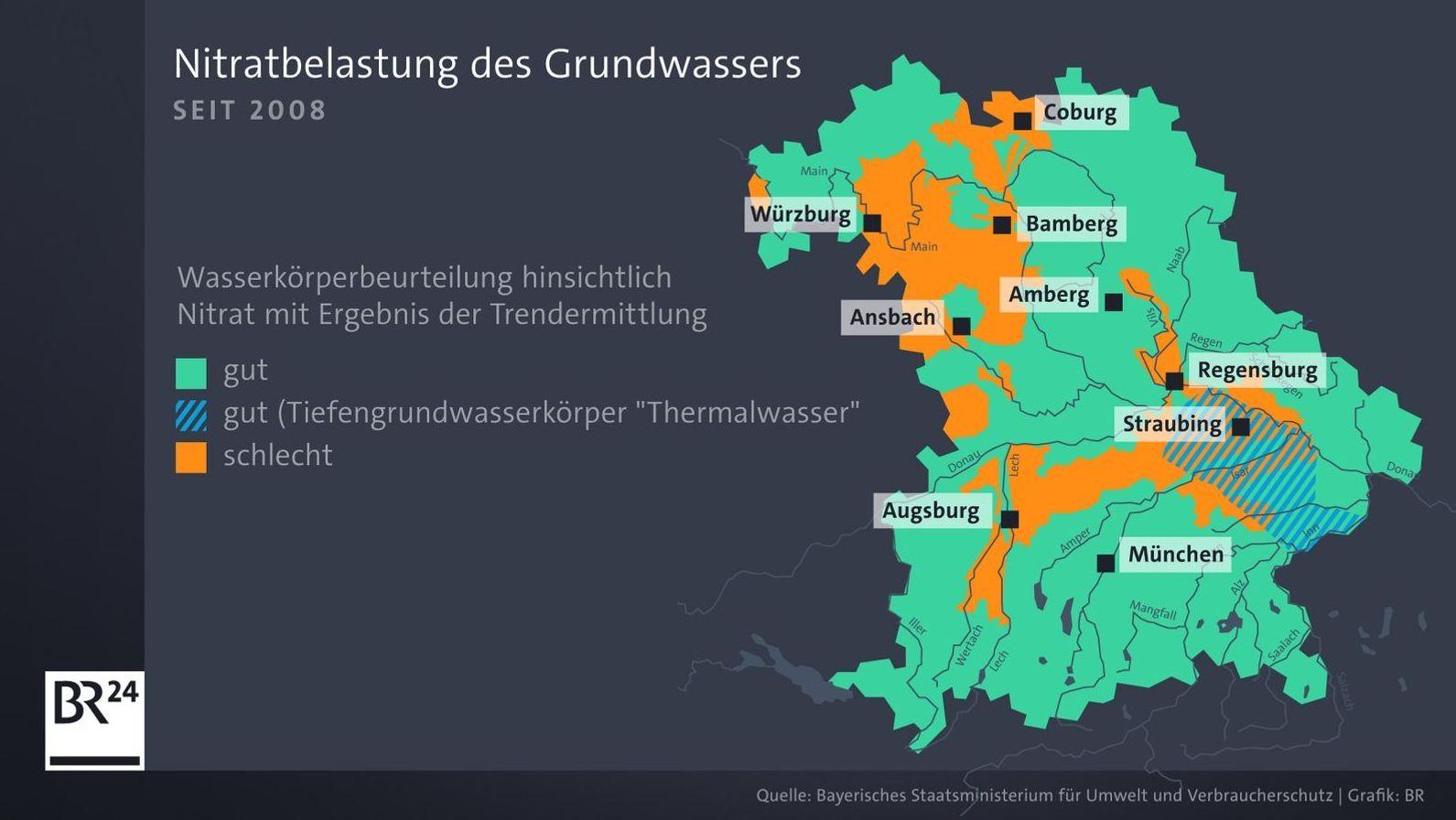Die Nitratbelastung des Grundwassers in Bayern