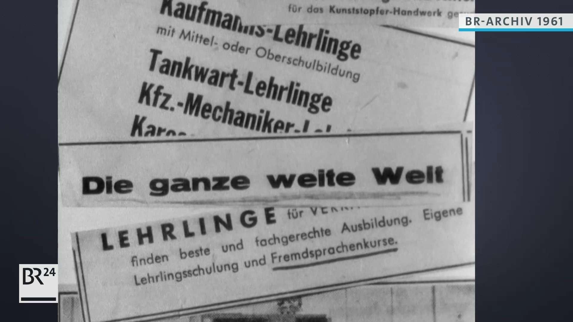 Ausgeschriebene Lehrstellen in der Presse, 1961