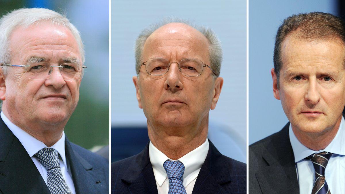Anklage gegen VW-Chef Herbert Diess (re), Aufsichtsratschef Hans Dieter Pötsch (Mitte) Ex-VW-Chef Martin Winterkorn