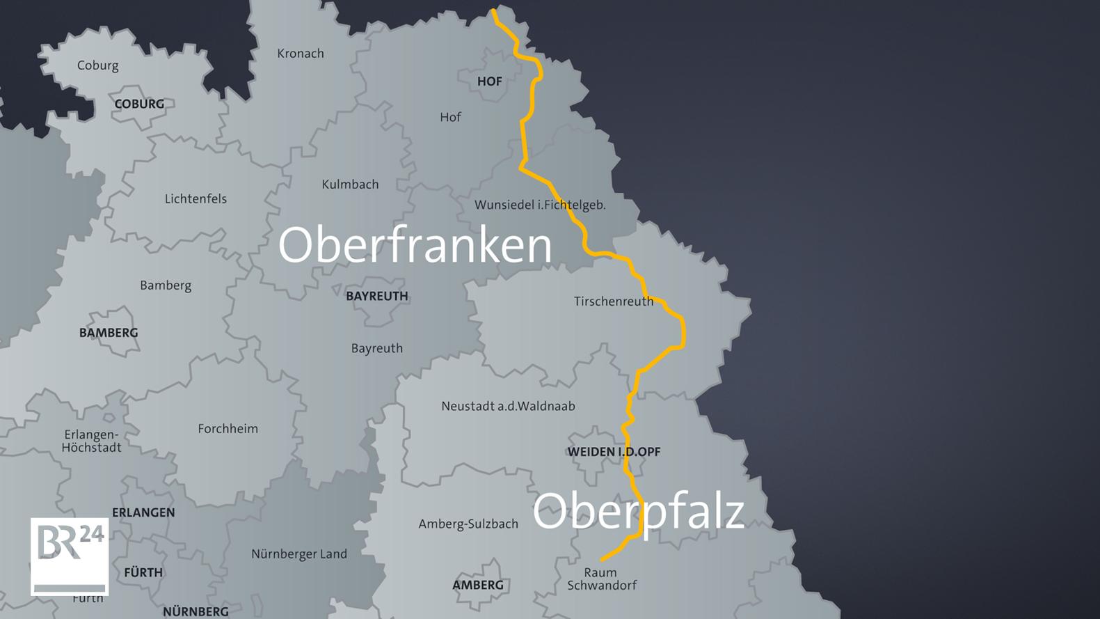 Eine Landkarte zeigt den Verlauf der geplanten Gleichstromtrasse Südostlink.