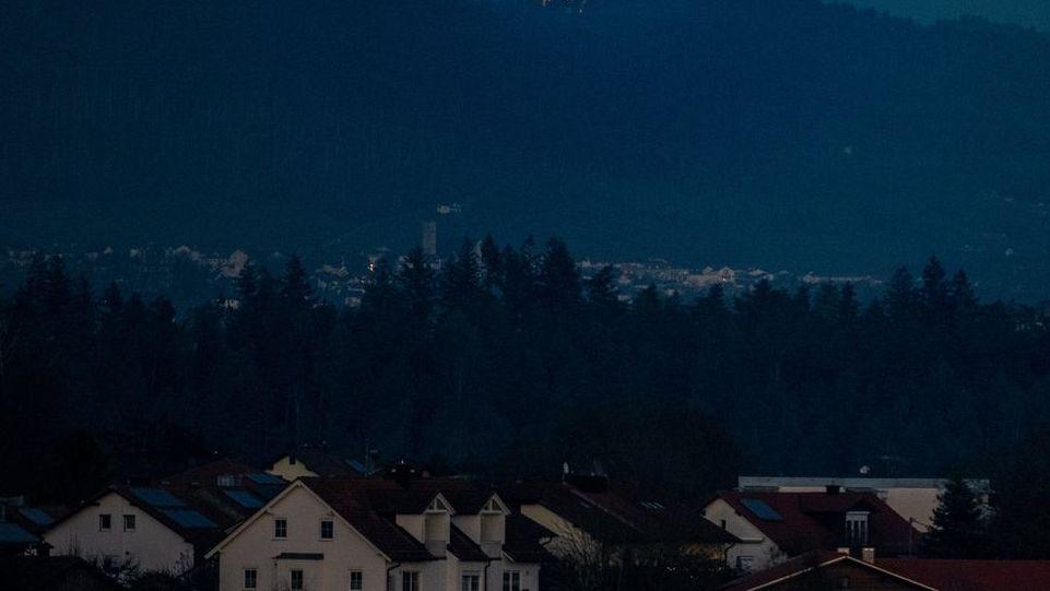 Blick auf Wohnhäuser im Bayerischen Wald