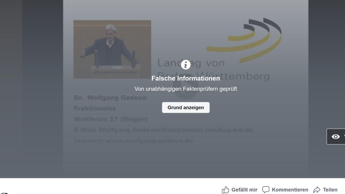 In diesem Facebook-Video verbreitet Ex-AfD-Politiker Wolfgang Gedeon Falschinformationen über das Coronavirus