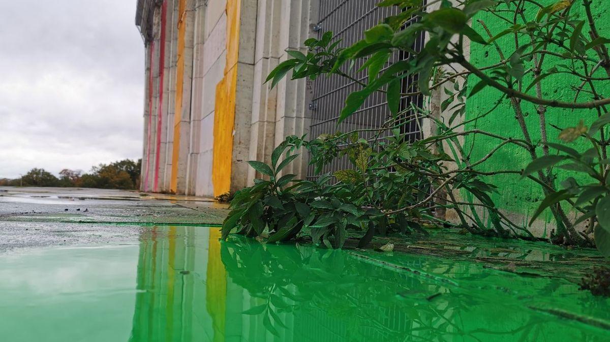 Bemalte Zeppelintribüne spiegelt sich in grüner Pfütze
