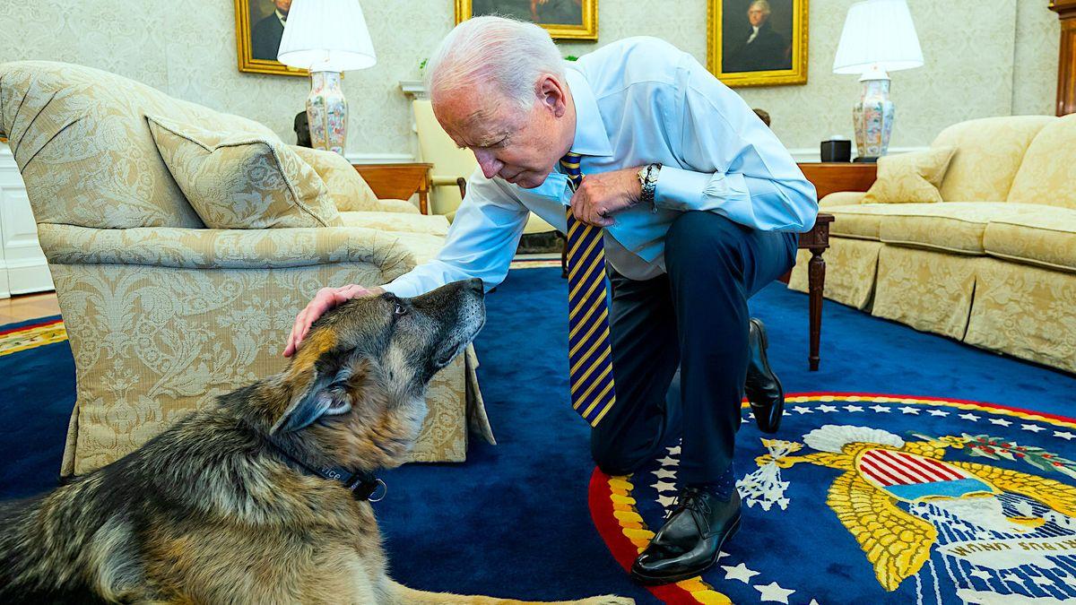 US-Präsident Joe Biden mit seinem Hund Champ.