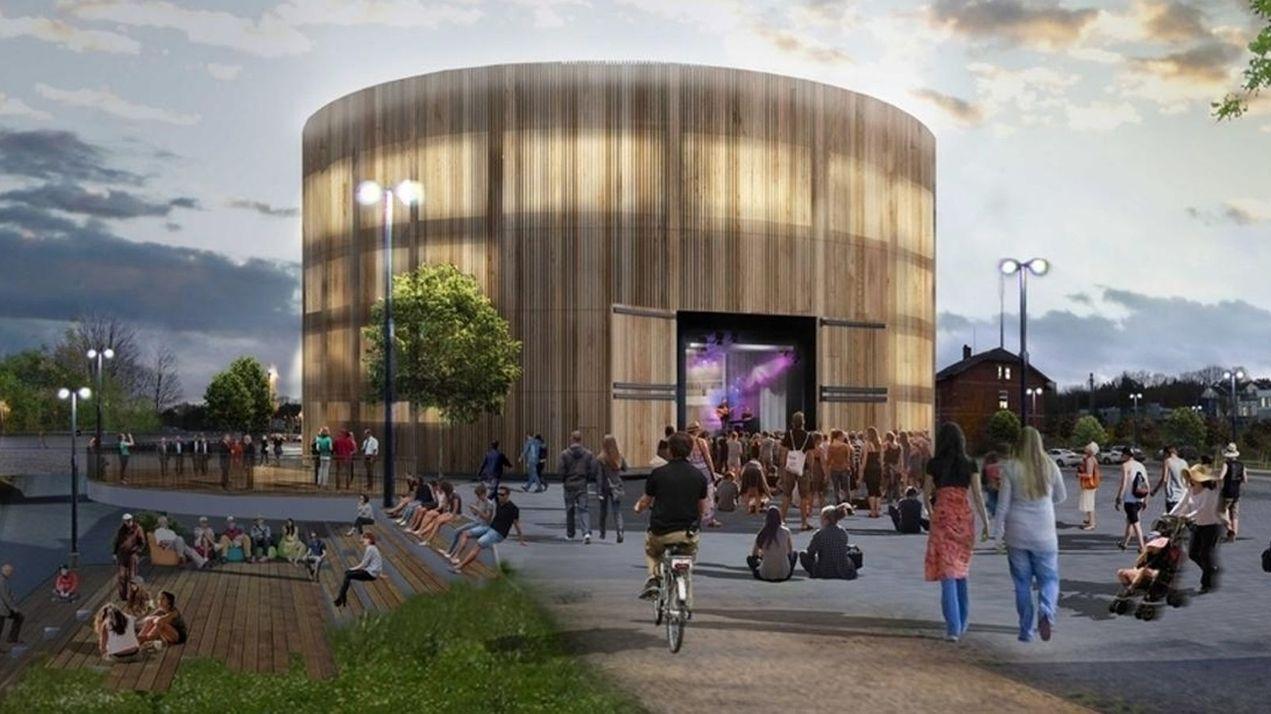 Eine Animation des in Coburg geplanten Globe-Theaters.