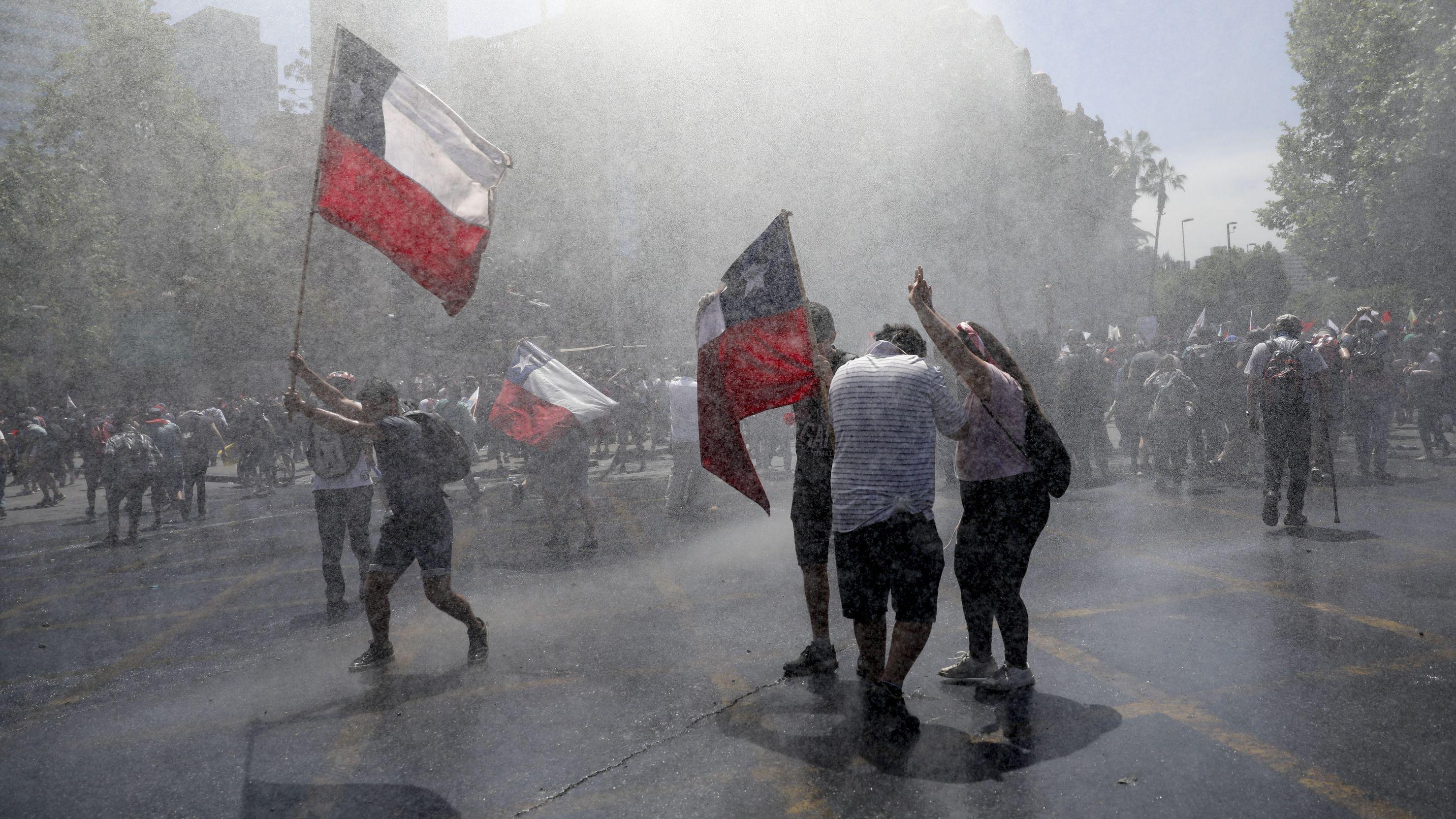 Proteste in der chilenischen Hauptstadt Santiago am 23.10.2019.
