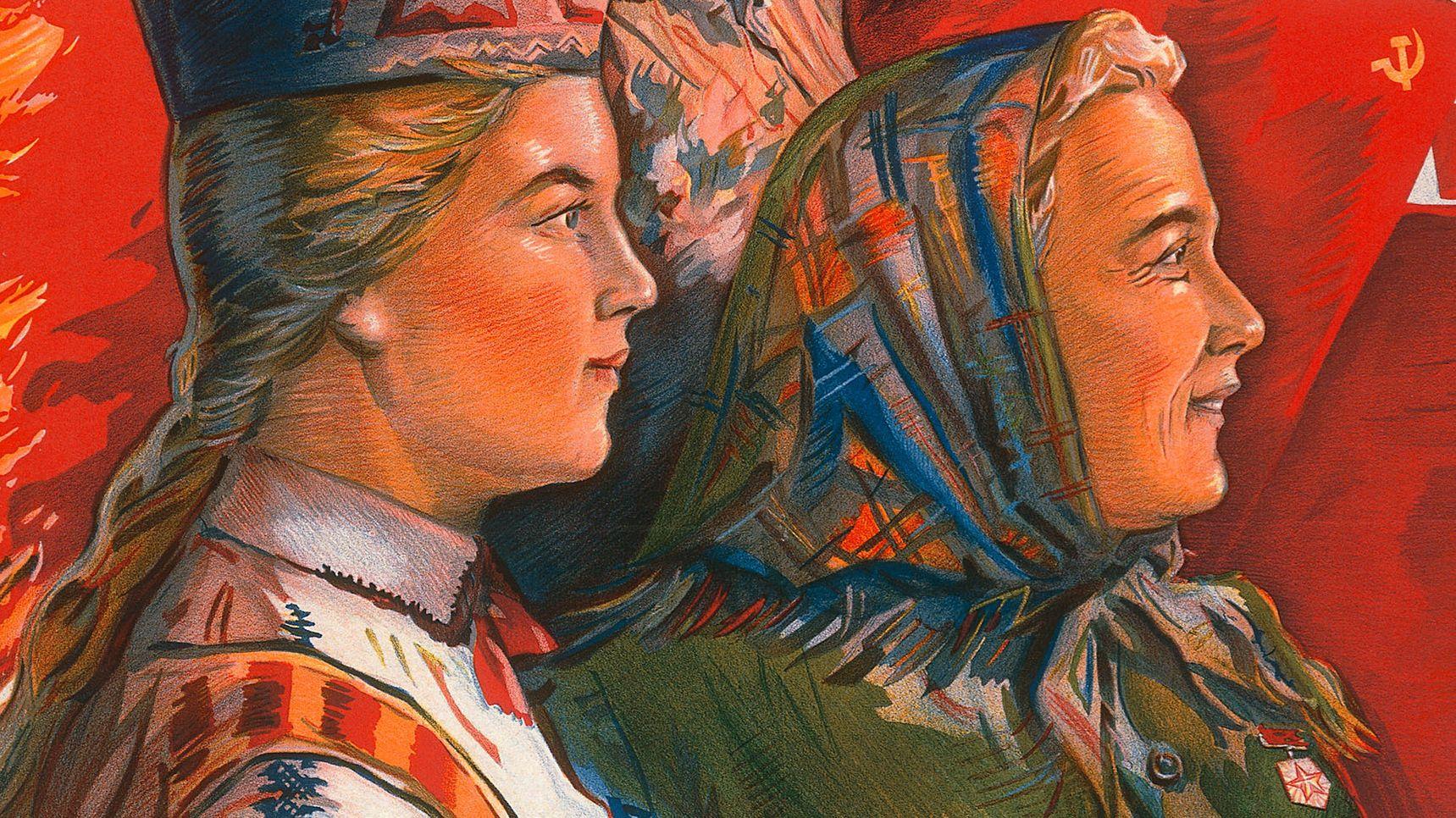 Frauen mit Kopftüchern im Profil vor roten Sowjetfahnen