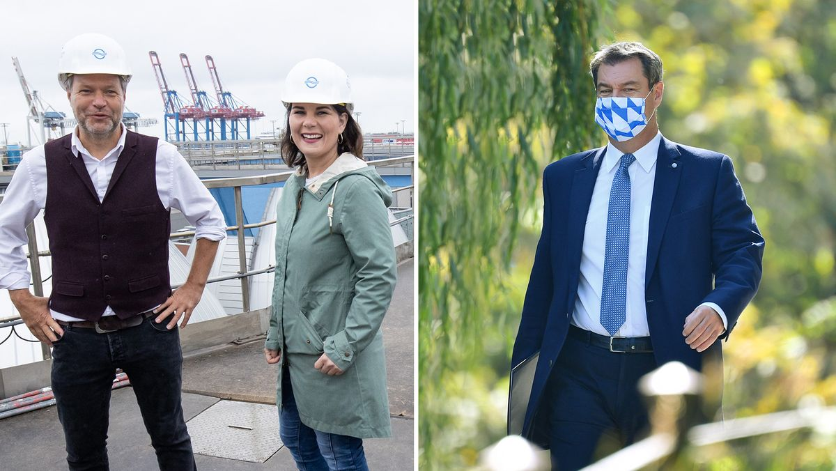Die Grünen-Chefs Robert Habeck und Annalena Baerbock (l.) am 09.07.20, Bayerns Ministerpräsident und CSU-Chef Markus Söder (r.) am 14.09.20.