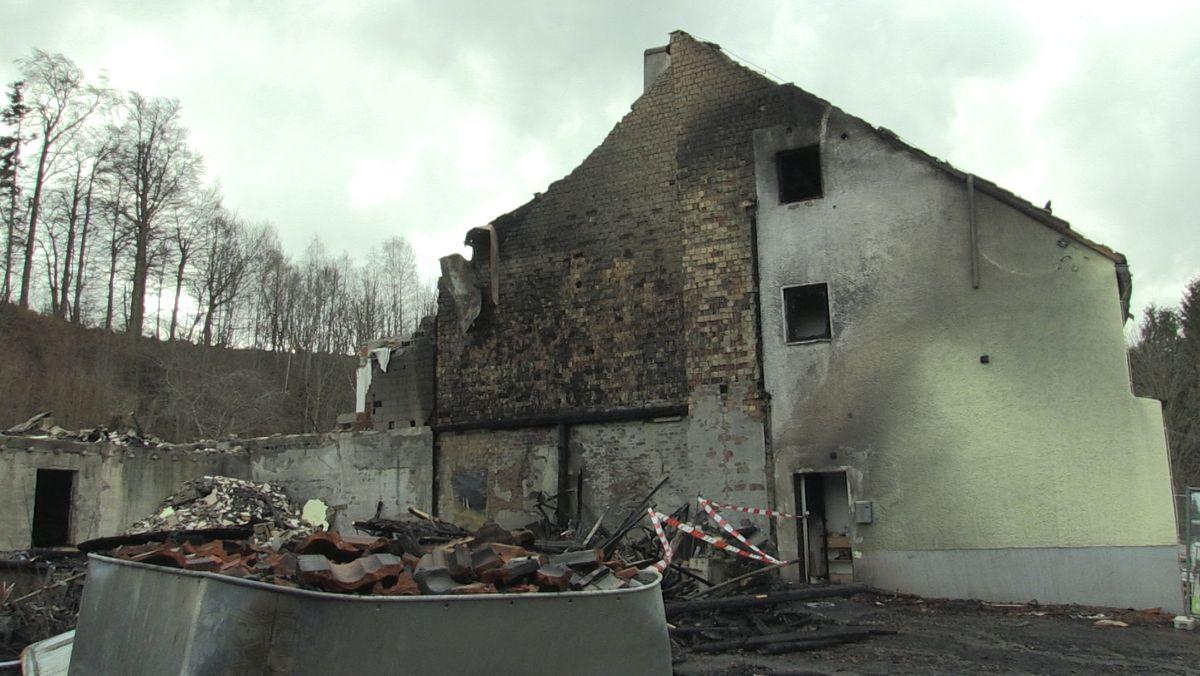 Brandgeschädigtes Haus in Kaufbeuren