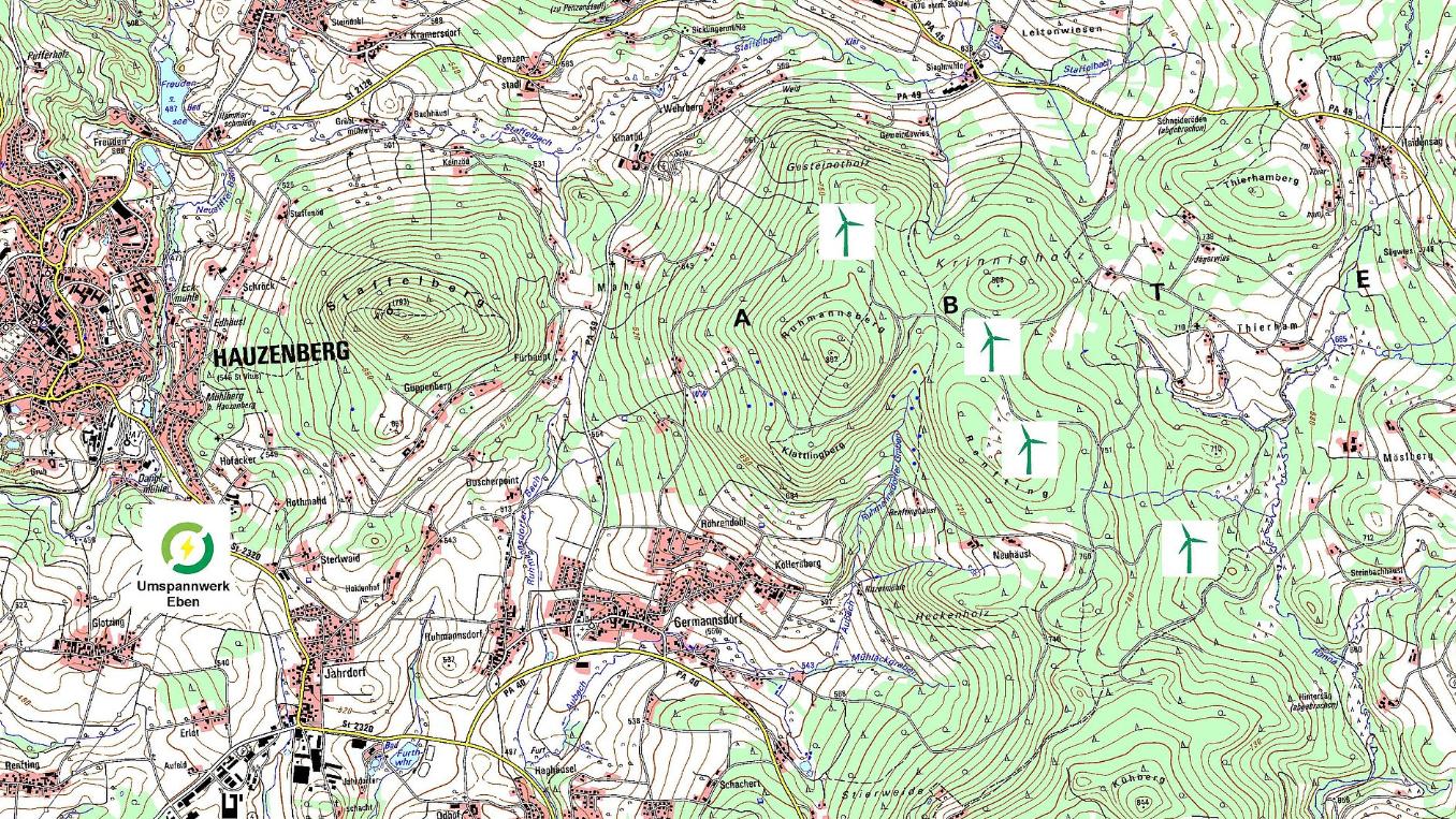 Übersichtskarte der geplanten Windräder in Hauzenberg