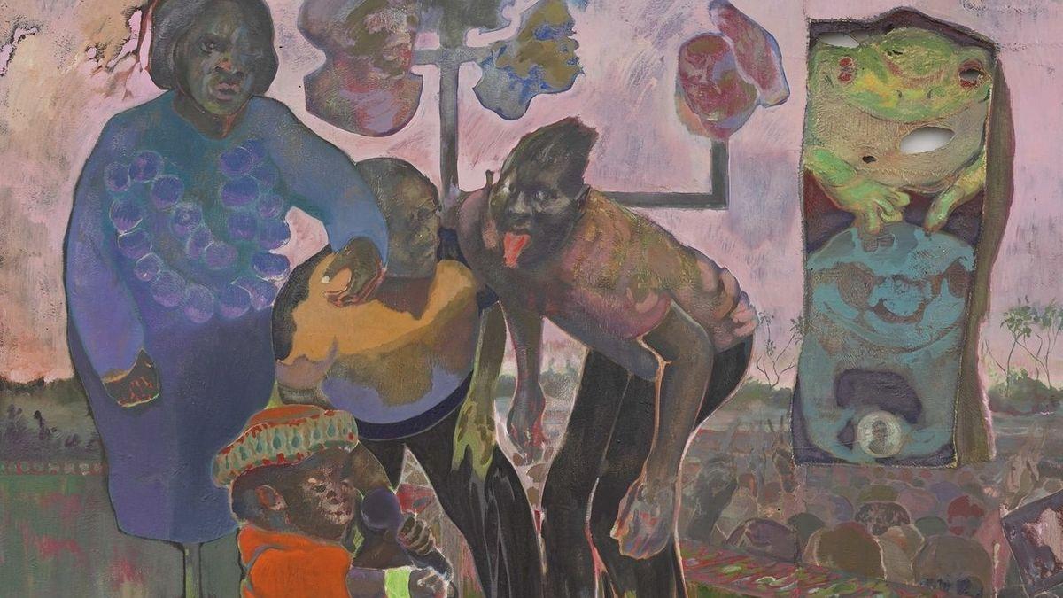 Drei Schwarze und ein Affe mit Mikrofon auf einem Gemälde von Michael Armitage